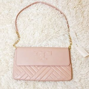 NWT TORY BURCH Pink Leather Clutch